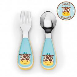 مجموعة أدوات المائدة والشوكة والمعلقة للأطفال الصغار من سكيب هوب, زرافة