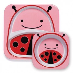 Skip Hop Zoo Melamine Plate and Bowl Set - Ladybug