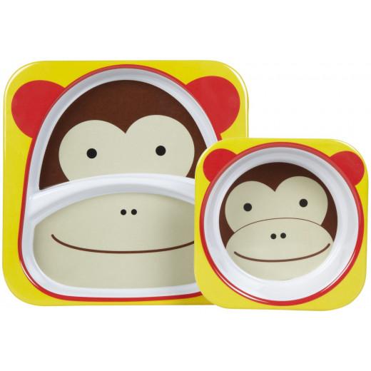 Skip Hop Zoo Melamine Plate and Bowl Set - Monkey