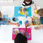 طقم أطباق وسلطانية مقسّم ميلامين بيبي لإطعام الأطفال الصغار وحديثي المشي من سكيب هوب زو، مونكي