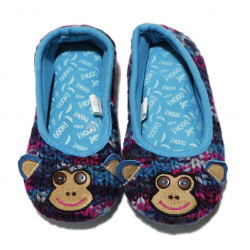 Winter Slippers - Blue Monkey - Medium Size