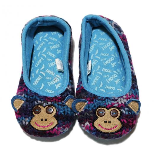 Winter Slippers - Blue Monkey - Medium Size