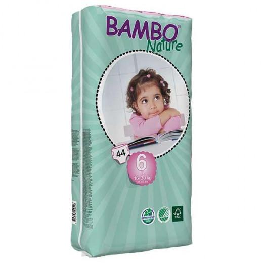 حفاضات بامبو ناتشر كلاسيك للأطفال ، مقاس 6 (16-30 كجم) ، 44 قطعة