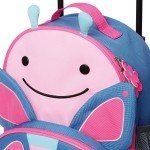 Skip Hop Zoo Little Kid Travel Rolling Luggage Backpack - Butterfly