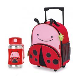 Skip Hop Zoo Rolling Backpack & Stainless Steel Straw Bottle -Ladybug