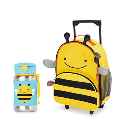 Skip Hop Zoo Rolling  Backpack & Stainless Steel Straw Bottle -Bee