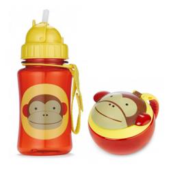 Skip Hop Zoo Straw Bottle & Snack Cup-Monkey