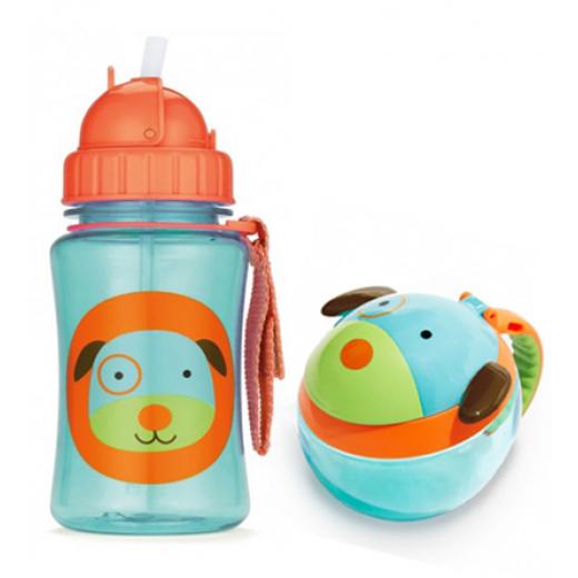 Skip Hop Zoo Straw Bottle & Snack Cup-Dog