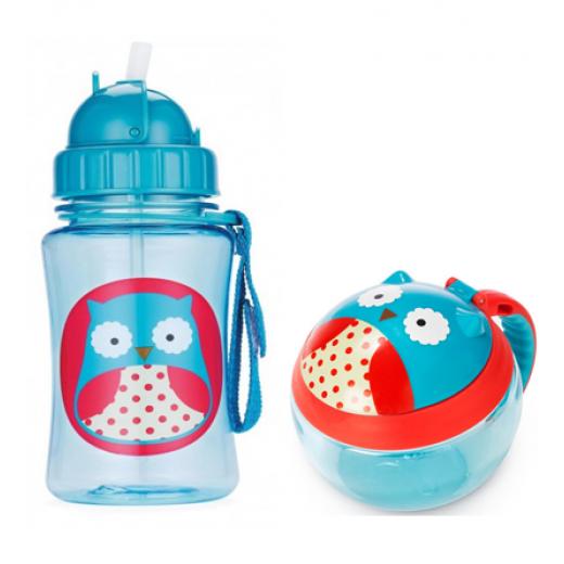 Skip Hop Zoo Straw Bottle & Snack Cup-Owl