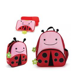Skip Hop Zoo Little KId Backpack,Lunchie & Lunch Kit - Ladybug