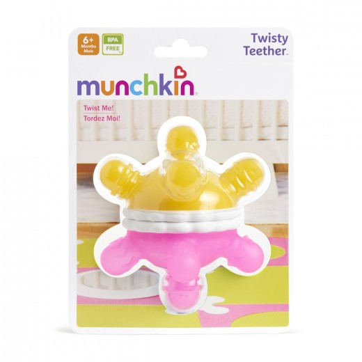 Munchkin Twisty Teether Ball (Pink/Yellow)