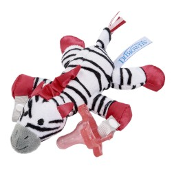 Dr. Brown's Zebra Lovey with Pink One-Piece Pacifier