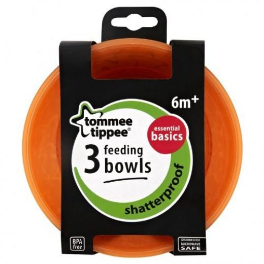 Tommee Tippee Basics Bowls X3, Orange