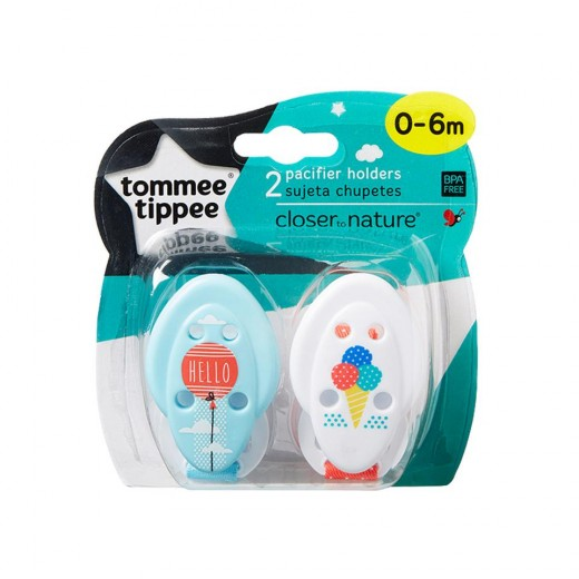 Tommee Tippee Closer to Nature Soother x2 Holder, white&blue