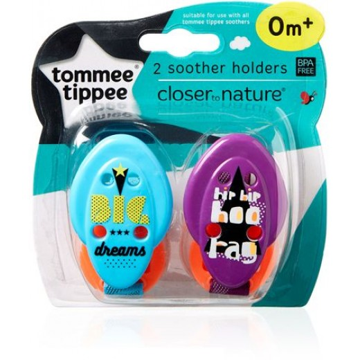 Tommee Tippee Closer to Nature Soother x2 Holder, Purple&blue