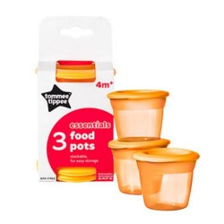 Tommee Tippee Blue 3 Food Pots 4 m- Orange