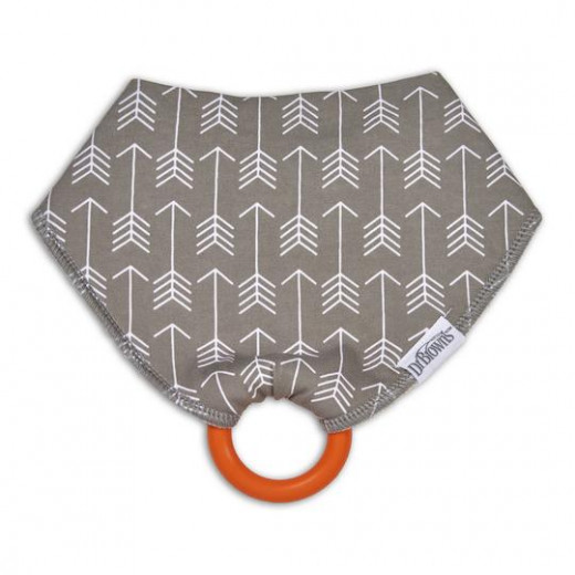 Dr. Brown's Bandana Bib with snap on Teether, 1-Pack, Arrows (Gray with Orange Teether)