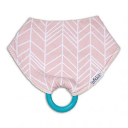 Dr. Brown's Bandana Bib with snap on Teether, 1-Pack, Herringbone (Pink with Turquoise Teether)