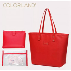 Colorland Ariana Faux Leather Tote Baby Diaper Bag Shoulder Fashion Bag (Red)