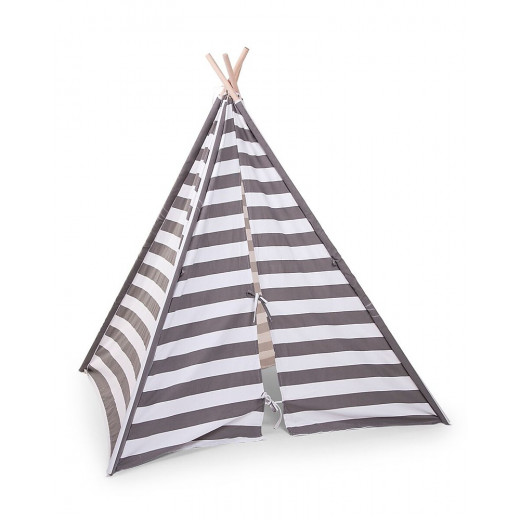Childhood Canvas Play Teepee Tent, White/Grey Stripes
