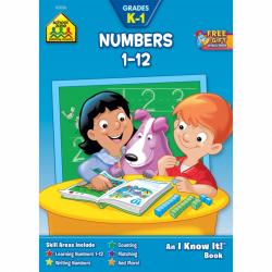 School Zone- Numbers 1 to 12 Workbook Grades K-1