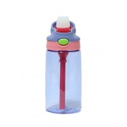 GenioWorld 14 oz Auto Spout Straw Flip Kids Tritan Water Bottle, Purple