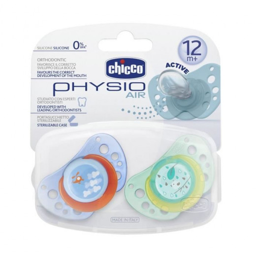 Chicco - Physio Air Soother with Case Silicone 12M+ Boy 2PCS