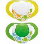 Chicco - Physioring Soother Silicone 4M+ 2 Pcs Glowing