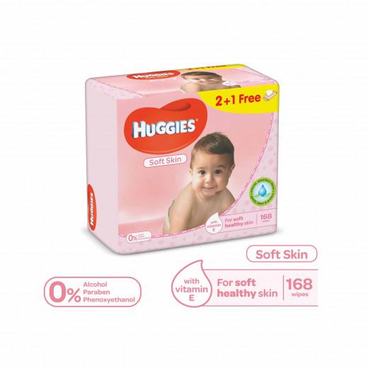 Huggies - For Soft Skin 168 Wipes