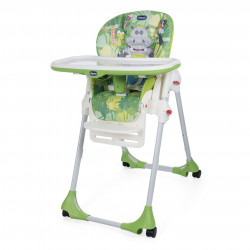 Chicco Polly Easy High Chair, 4 Wheels, Happy Jungle
