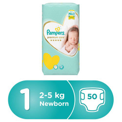 Pampers Premium Care Diapers, Size 1, Newborn, 2-5 kg, Jumbo Pack, 50 Count