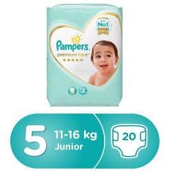 Pampers Premium Care Diapers, Size 5, Junior, 11-16 Kg, Carry Pack, 20 Count