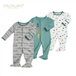 Colorland - Baby Romper / The Car Show 3 Pieces In One Pack - 0-3 Months