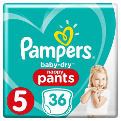 Pampers Baby Dry Pants Size 5 - 36 per pack 11-18 Kg. (Made in Britain).