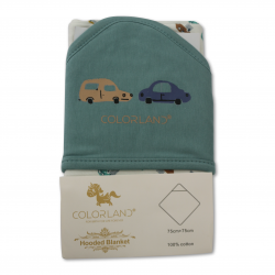 Colorland Dylan Baby Hooded Blanket - The Car Show 1 Pc Per Pack