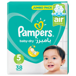 Pampers Baby-Dry Diapers, Size 5, Junior, 11-16kg, Jumbo Pack, 38 Count