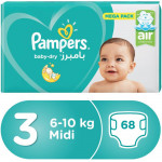 Pampers Baby-Dry Diapers, Size 3, Midi, 6-10 kg, Mega Pack, 68 Count
