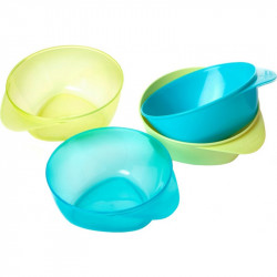 Tommee Tippee Easy Scoop Feeding Bowls x4 (Available in 2 Colors) - Green & Yellow