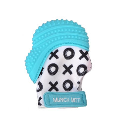 Munch Mitt Teething Mitten, Aqua Blue XO