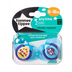 Tommee Tippee Closer to Nature Any Time Soothers 2 Pieces, 6-18 months, Blue