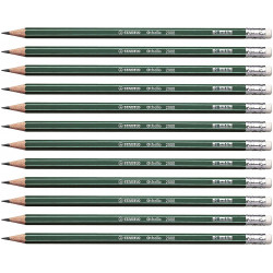 Stabilo Othello Pencil with Rubber Green with Stripes -12 Pencils