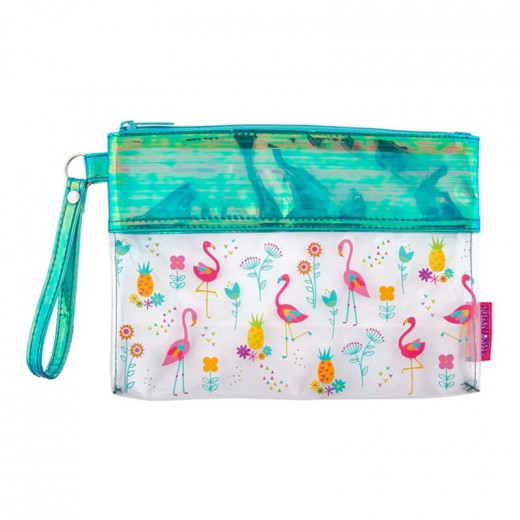 Stephen Joseph Clear/Iridescent Beach Pouch Flamingo