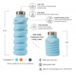 Que Collapsible Water Bottle, Iceberg, 355 ml