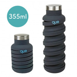 Que Collapsible Water Bottle, Metallic Charcoal, 355 ml