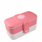 Look Back Lunch Box for Kids Adults, 2 layers, Leak Proof, FDA Approved, Pink