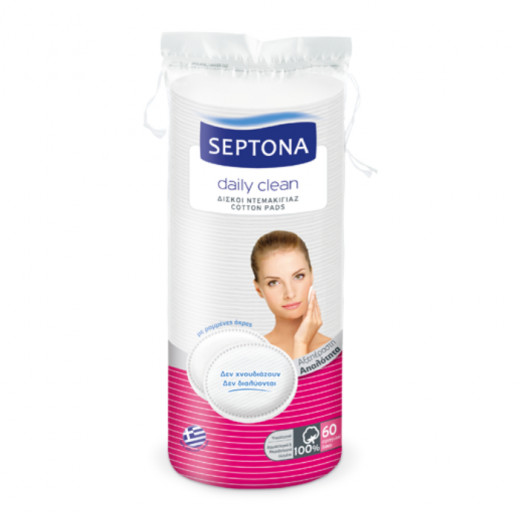 Septona Round Double-Faced Cotton Pads, 100 Pieces