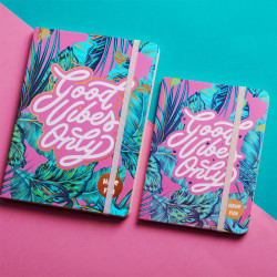 Mofakera Good Vibes Notebook with Rubber Band A6 Size