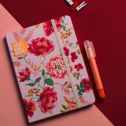 Mofakera Pink Vintage Floral Notebook with Rubber Band A6 Size