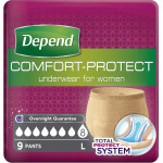 Depend Comfort Protect Underwear for Women, Super Pants for Female Large, 9 pcs