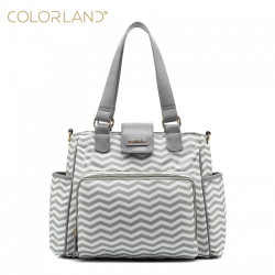 Colorland Travel Changing Tote Bag with Built, Chevron Grey